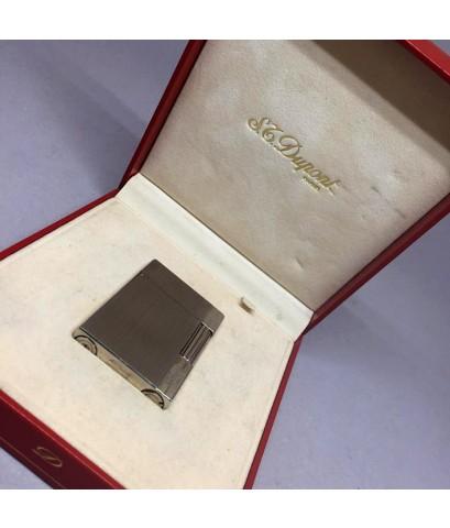 ไฟแช็ค DUPONT MONTPANASSE ตัวเรือนโลหะเงินขัดลายเส้น สภาพสวยกล่องใบอุปกรณ์ครบ