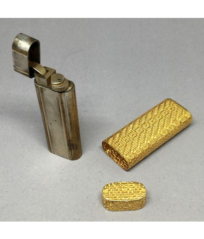 ไฟแช็ก CARTIER ทองคำ 18k yellow gold original 1980 ระบบเติมแก๊ส ลวดลายขอบปลอกทองคำแบบถักทอง หายาก น่