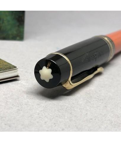 ปากกาหมึกแห้ง MONTBLANC ปี 1992 Limited HEMINGWAY ตัวด้ามอครีลิคน้ำตาลเข้มสลับส้ม พร้อมชุดเหน็บเคลือ
