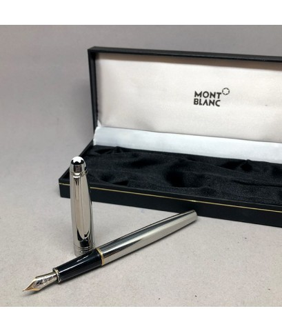 ปากกาหมึกซึม montblanc foutain ปากเขียนทอง 14k 585 solid gold ตัวด้ามเคลือบแพ็ตตินั่ม ชุดเหน็บเคลือบ