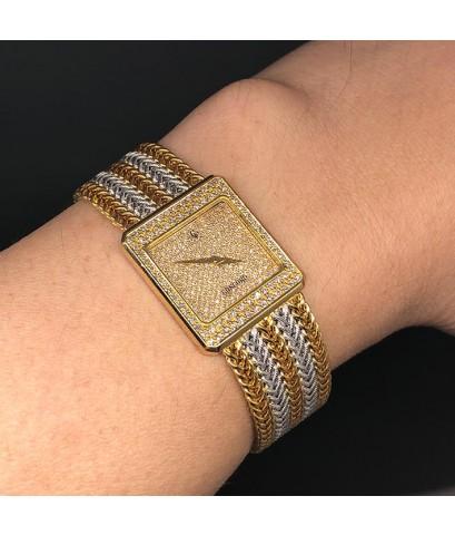 CONCORD 167100 Full diamond 18k 2-tone Lady size 22x25mm หน้าปัดฝังเพชรแท้ original เดินเวลา 2 เข็ม
