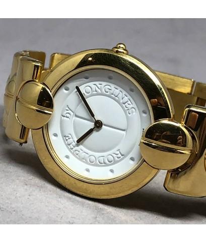 Longines RODOIPHE Quartz Gold Plated Men\'s watch / Unisex size 34mm หน้าปัดขาวแสดงลวดลายหลักเวลา เด