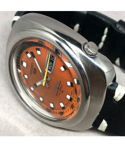 Seiko 5 Sport 70 proof 5126-6010 Automatic 1969s Size 43mm หน้าปัดส้มประดับหลักเวลาขีดพรายน้ำ บอกวัน