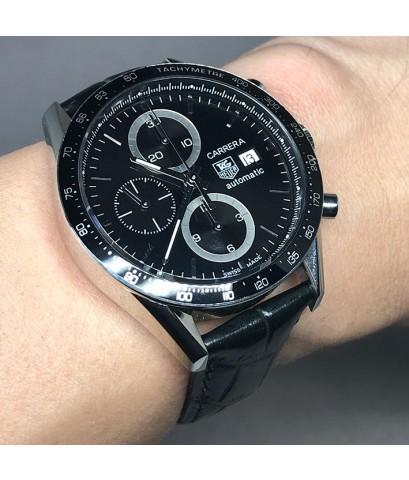 TAG HEUER Carrera Auto chronograph date ขนาด King ize 42mm หน้าปัดดำประดับหลักเวลาขีดเงินเงา กระจกแซ