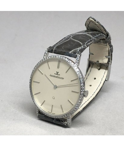 Jager-LeCoultre Diamond Quartz ขนาดตัวเรือน 33mm หน้าปัดบรอนซ์เงินเมทาลิคประดับหลักเวลาขีดเงินเงา เด