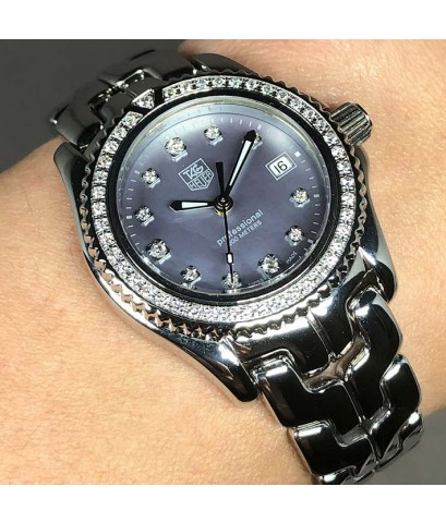 TAG HEUER Link classic Full Diamond (เพชรแท้จากโรงงาน) quartz date ขนาด big lady size 30mm หน้าปัดมุ