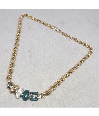 สร้อยคอทองคำ NOUVELLE BAGUE ประดับเพชรแท้ 33 เม็ด รูปทรงมีลวดลายลงยา วิจิตร เหมาะกับสตรี ขนาดความยาว