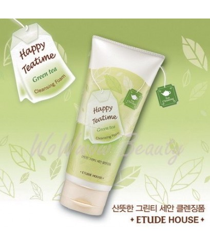 (Pre-order) Etude House Happy Teatime Cleansing Foam (Green Tea) โฟมล้างหน้าชาเขียว