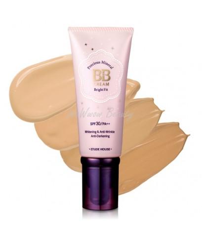 (เลิกผลิต) Etude house Precious Mineral BB Cream Bright Fit spf30 บีบีครีมผสมไข่มุก ช่วยปกปิด