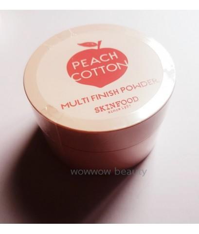 (พร้อมส่ง)Skinfood Peach Cotton Multi Finish Powder 15g. แป้งฝุ่นพีช เนื้อสีขาว ช่วยควบคุมความมัน