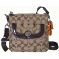 กระเป๋าสะพาย COACH PARK SIGNATURE SWING PACK CROSSBODY PURSE BAG KHAKI MAHOGANY F49148