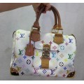 Authentic Louis Vuitton White Multicolore Multicolor Speedy 30 Bag