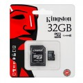 Kingston 32Gb Micro SDHC Class 10 Flash Memory Card With Adapter- (SDC10/32Gb)