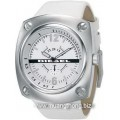 Diesel Small second men watch white dial white leather belt DZ1229