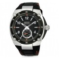 Seiko Sportura Black Dial Black Leather Watch SRK023