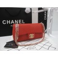 Chanel Classic flap bag Grained Clafskin  GHW Top Mirror Image 7 stars สีแดงอะไหล่ทอง 9.8 นิ้ว