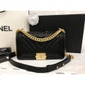 Boy Chanel Handbag Calfskin Gold Matal  in Black 9.8 inch