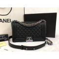 Chanel Rainbow Iridescent Goatskin Boy Bag Medium 9.8 inch สีดำอะไหล่สีรุ้ง
