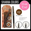 ดินสอเขียนคิ้ว Dual End eyebrow Sivanna Colour DP-020 NO.02(natural Brown)