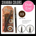ดินสอเขียนคิ้ว Dual End eyebrow Sivanna Colour DP-020 NO.03(Dark Brown)