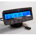 VST7045V Car Alarm Clock With In/Out Thermometer  Battery Monitor