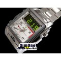 WEIDE - WH1001-2: Dual Time Dual System Stainless Steel White Dial Sports Watch