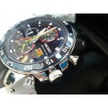 Seiko Sportura SPC089 SPC089P1 Chrono Barcelona Blue Dial Leather