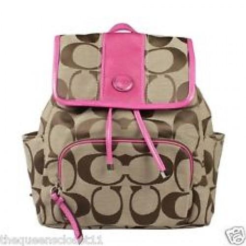 กระเป๋าเป้ COACH SIGNATURE STRIP KHAKI MULBERRY BACKPACK 21928   5604978 ac623279b4