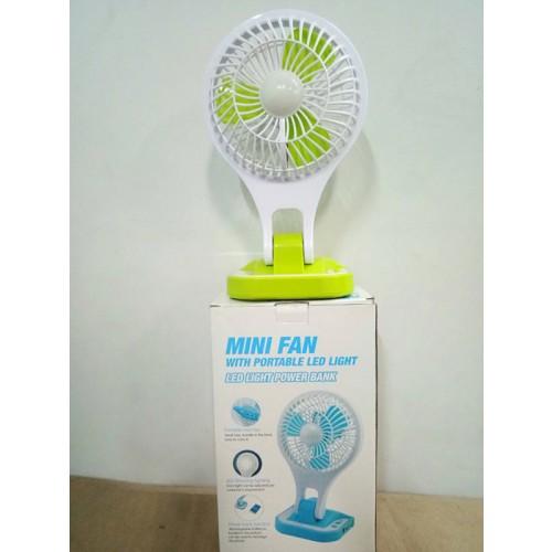 พัดลมพกพา มีไฟ LED MINI FanPortable Led Light  ชาร์ทไฟได้