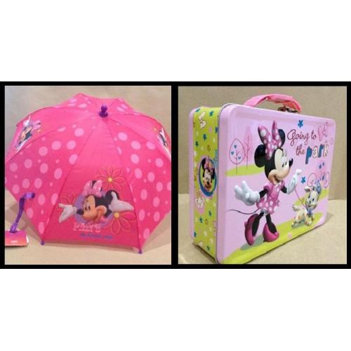 Minnie Mouse พิิเศษ!! กล่องข้าว กล้องใส่อาหาร กล่องใส่ของ กล่องอเนกประสงค์ + ร่มหัวโมเดล จัด Set คู่