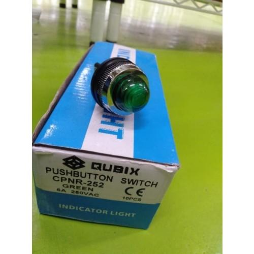 A03354 QUBIX PUSHBUTTON SWITCH CPNR-252 GREEN 250VAC 6A