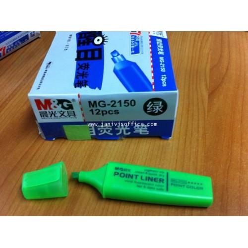 ปากกาเน้นข้อความMG รุ่น MG-2150 สีเขียว(12ด้ามกล่อง)