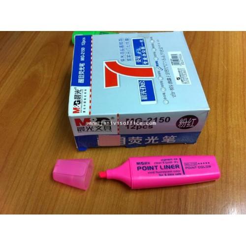 ปากกาเน้นข้อความMG รุ่น MG-2150 สีชมพู(12ด้ามกล่อง)