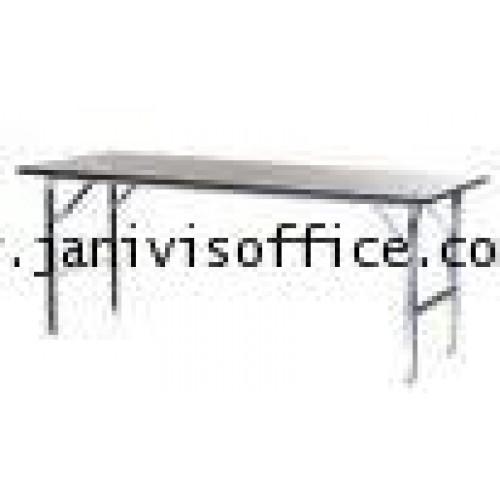 โต๊ะอเนกประสงค์ขาพับโครงขาเหล็ก ชุบโครเมียม แบบเหลี่ยม 150x75x75cm