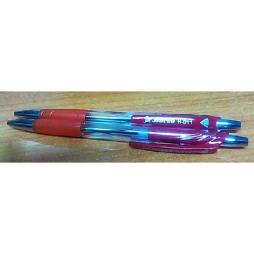 ปากกาลูกลื่น ตราม้า H-011หมึกแดง ด้ามสีแดง (1x50)