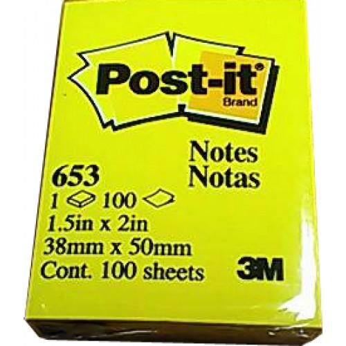 โพสต์-อิท โน้ต 3M สีเหลืองเข้ม 653 1.5x2