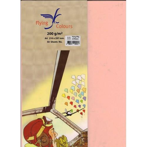 กระดาษทำปก FLYING COLOURS 200 แกรม A4 no.11 สีพีช (50แพ็ค)
