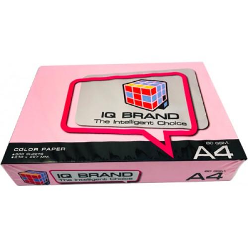 กระดาษสี 80 แกรม ไอคิว  A4  สีชมพูเข้ม P2