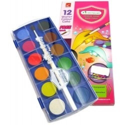 สีน้ำก้อน มาสเตอร์อาร์ต(กล่อง12สี) กล่องพลาสติก