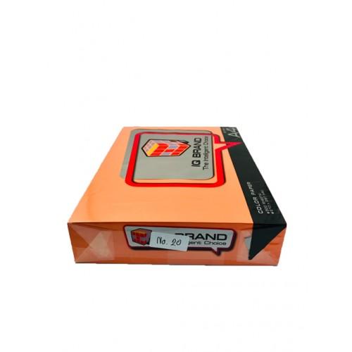 กระดาษสีเข้มพิเศษIQ BRAND 80 แกรม A4  สีส้มNo.20