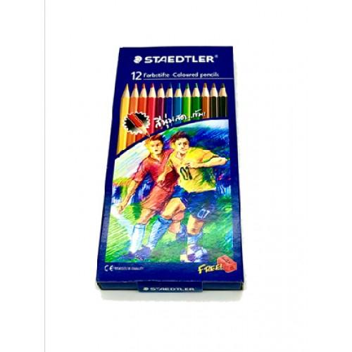 ดินสอสี แท่งยาว (กล่อง12สี) สเตทเลอร์143C แถมฟรีกบเหลา1อัน