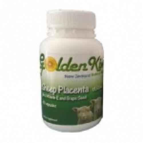 Golden Kiwi Placenta รกแกะเม็ด 20000 mg ผสมสารสกัดเมล็ดองุ่นและvitE จากนิวซีแลนด์ 60 เม็ดซอฟเจล