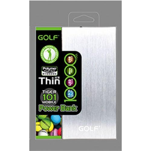 Power Bank Golf 10000mAh Tiger 101 Thin แบตสำรองแบบพกพา ทำจากวัสดุอลูมิเนียม อัลลอยด์อย่างดี สีเงิน
