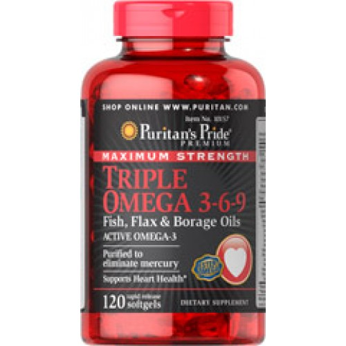 Puritan Maximum Strength Triple Omega 3-6-9 Fish  Flax Oils 120 Softgels รวมโอเมก้าที่เข้มข้นที่สุด