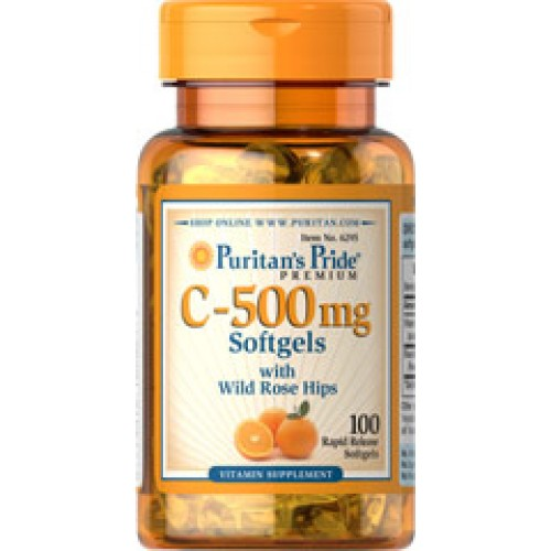 Puritans Pride Vitamin C 500 mg with Rosehips 500 mg. 100 Softgels