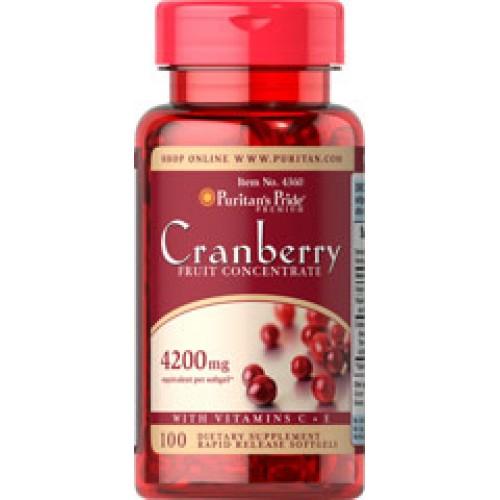 Puritan Cranberry Fruit Concentrate with C E 4200 mg 100 เม็ด แครนเบอรี่สกัดเข้มข้น ดูแลจุดซ่อนเร้น