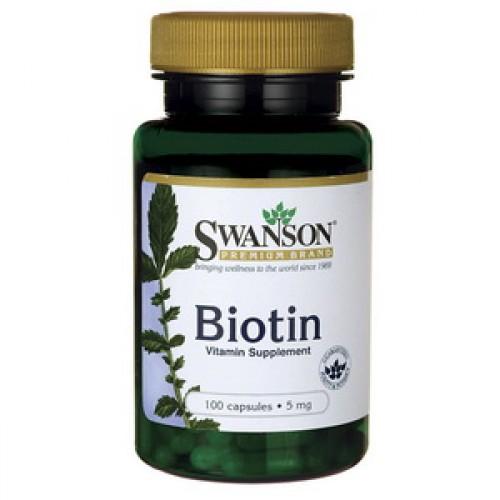 Swanson Biotin 5000 mcg 100 capsules ไบโอติน ลดผมร่วง ลดผมบาง ช่วยให้ผมขึ้นเร็ว เล็บแข็งแรง