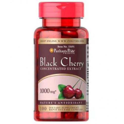 Puritan Black Cherry 1000mg 100 Capsule รักษาเก๊าต์ ช่วยต้านอนุมูลอิสระ บำรุงผิวพรรณเปล่งปลั่งสดใส