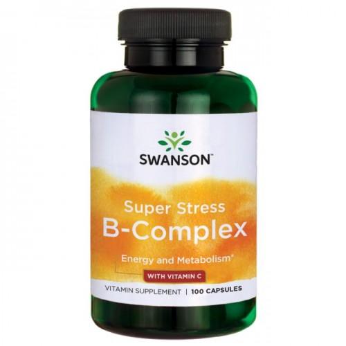 Swanson Super Stress Vitamin B Complex Vitamin C 100เม็ด วิตามินบีรวมและซี บำรุงสมองระบบประสาท