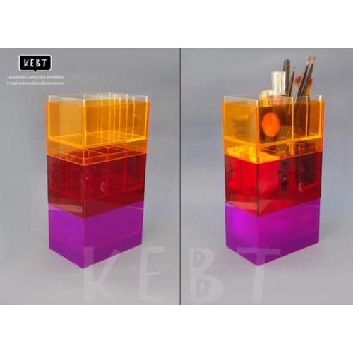 กล่องอะคริลิก สำหรับเก็บเครื่องสำอางและผลิตภัณฑ์บำรุงผิวcolorful  ม่วง